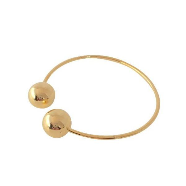 DOUBLE BALLIN BANGLE (GOLD), [product-type] - Minimalist Jewellery
