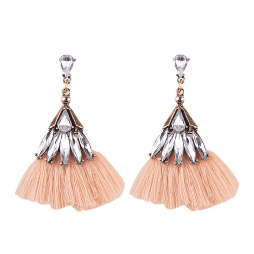 BEDAZZLED TASSEL EARRINGS (BLUSH)
