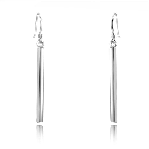 BAR DROP EARRINGS (SILVER)