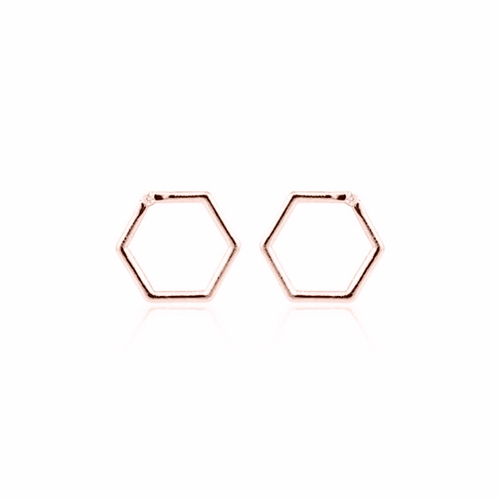HEXAGON EARRINGS (ROSE GOLD)