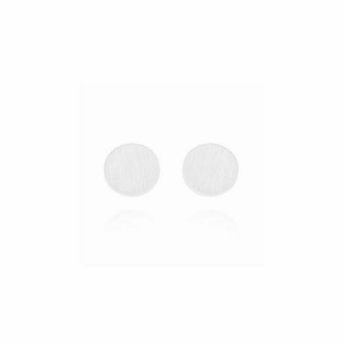 BRUSHED DISC EARRINGS (SILVER)