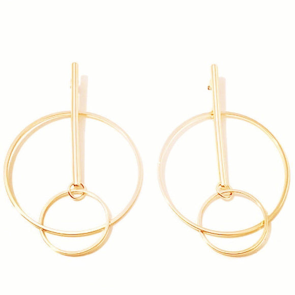 GEOMETRIC ORB EARRINGS (GOLD), [product-type] - Minimalist Jewellery
