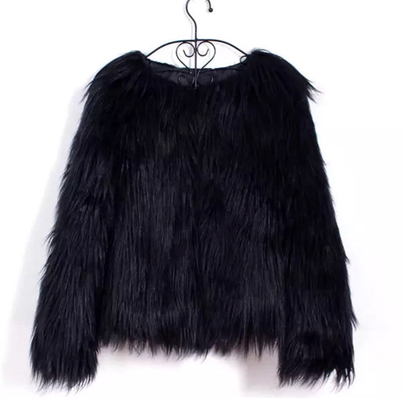 BLACK FAUX FUR JACKET