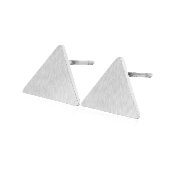 BRUSHED TRIANGLE EARRINGS (SILVER)