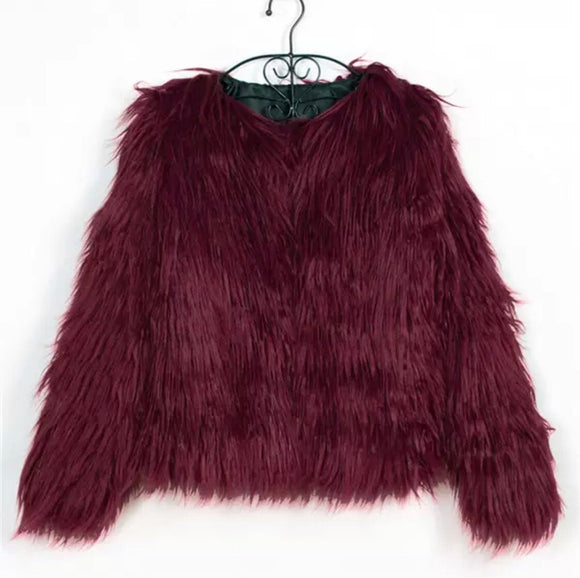 BURGANDY FAUX FUR JACKET
