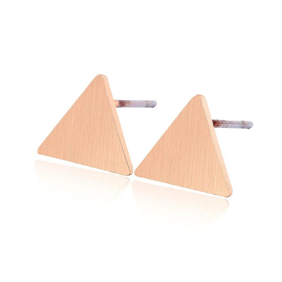 BRUSHED TRIANGLE EARRINGS (ROSE GOLD)