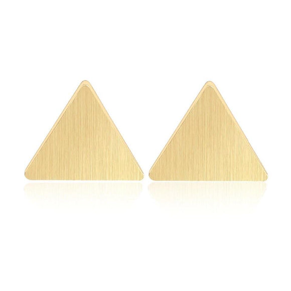 BRUSHED TRIANGLE EARRINGS (GOLD)