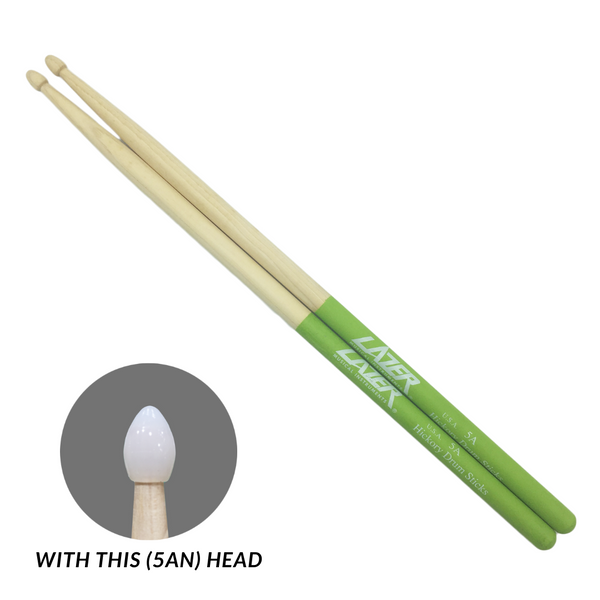 Green Anti-Slide Hickory Drumstick (PC163)