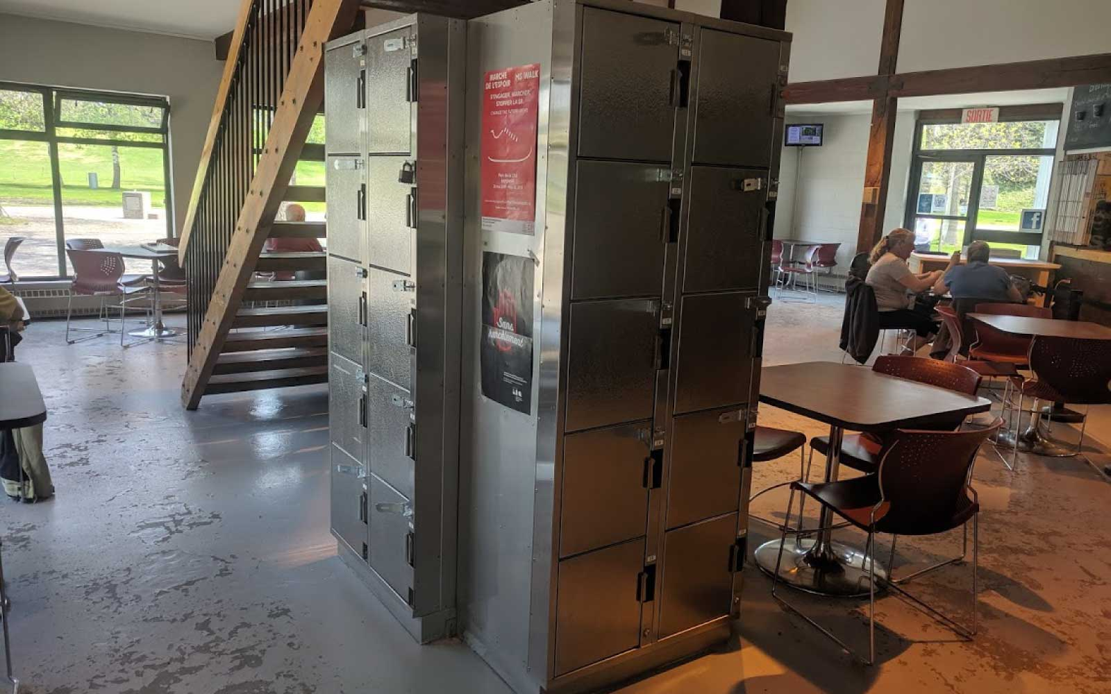 At Longueuil's Michel Chartrand park, there are lockers in the reception pavilion