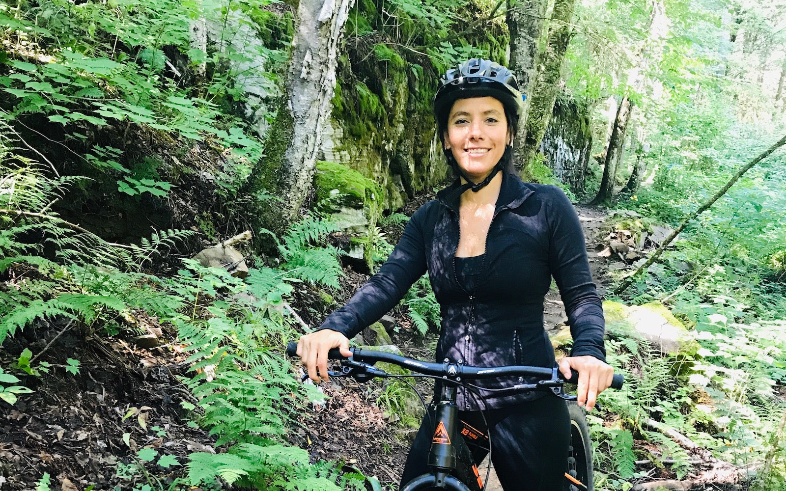 Vanessa trying mountain Bike after cycling changed her life