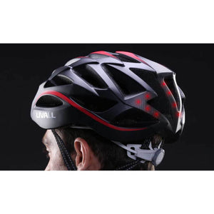 LED warning light and flashing - LIVALL BH62 Smart cycling helmet lateral view - Matte with black & white color