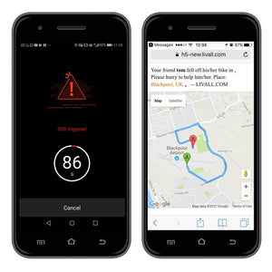 SOS Alert display on mobile phone - LIVALL BH51M Smart Urban Helmet