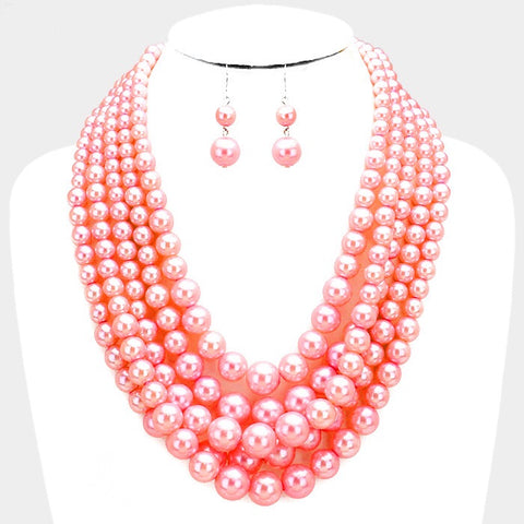 d063000cef5561 5 Strand Pink Pearl Necklace and Earring Set – PinkCocoaGifts.com
