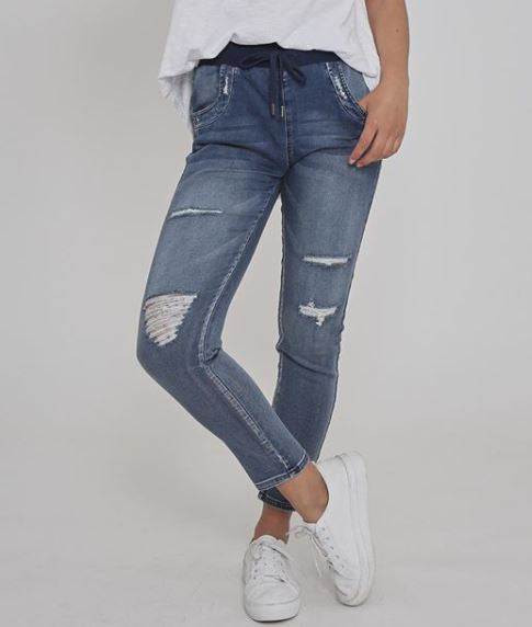 Axton Distressed Denim Jogger