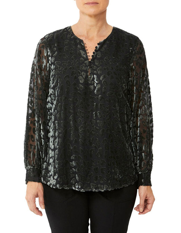 Pingpong Burntout Cheetah Blouse