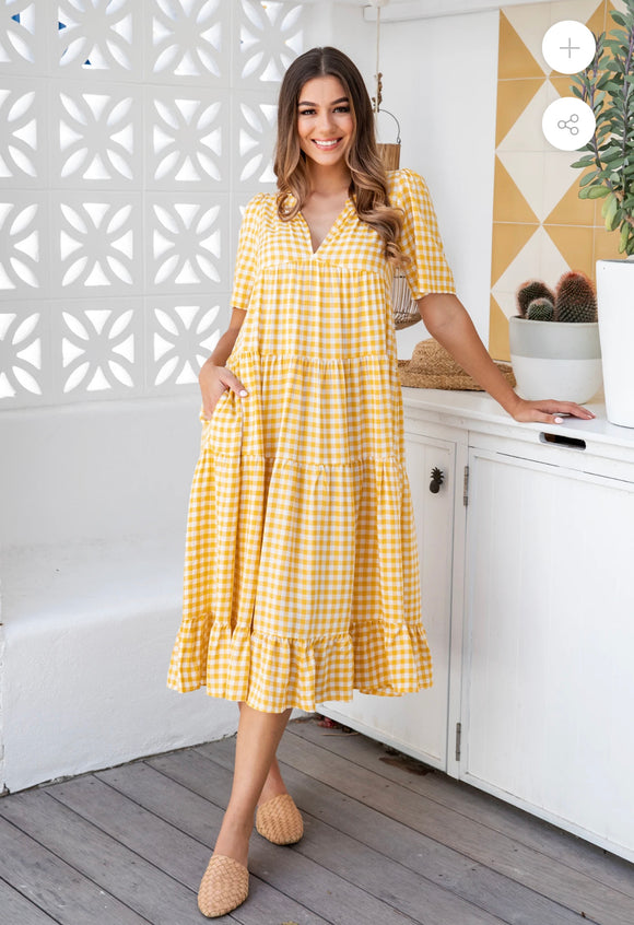 SP Sunny Gingham Tiered Dress
