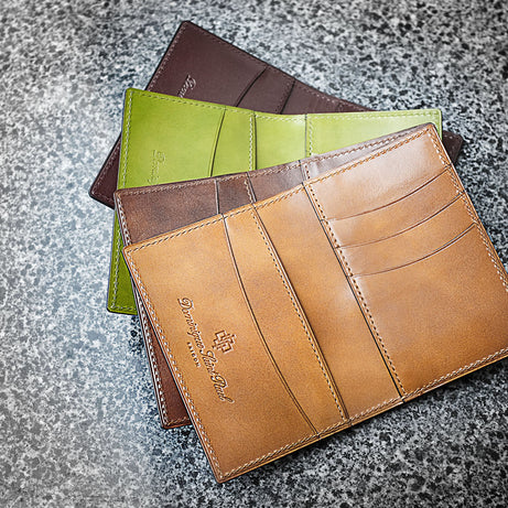 Leather mini wallets hand patined