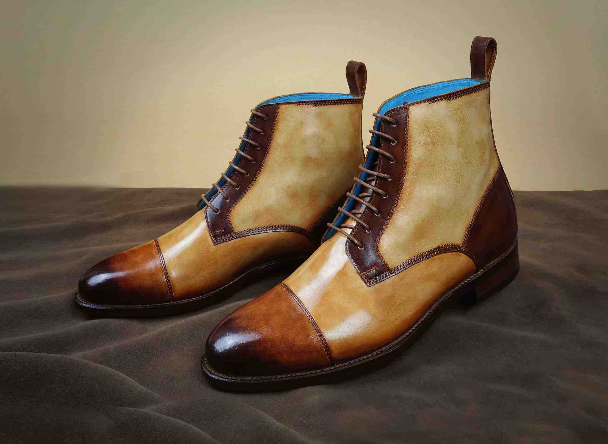 Derby toe cap boots with hand painted patina