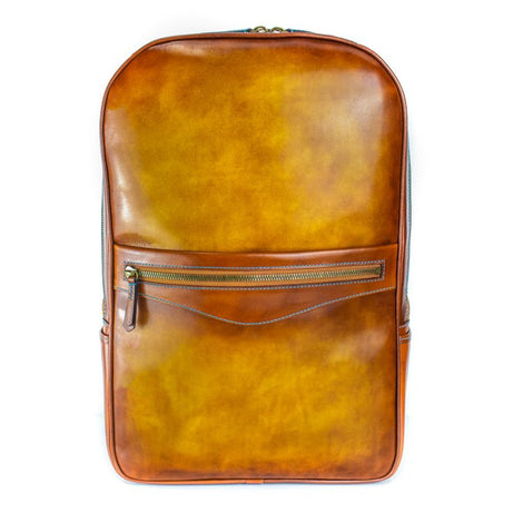 A LEATHER BACKPACK WITH AMAZING HAND PAINTED PATINA COLOUR