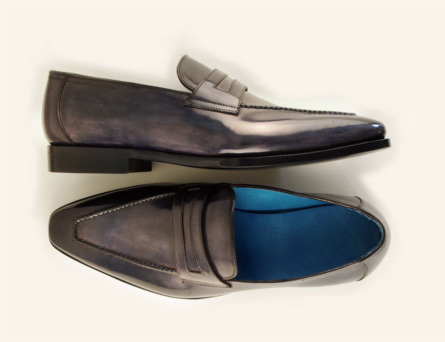 Alex loafer shoes with hand painted patina