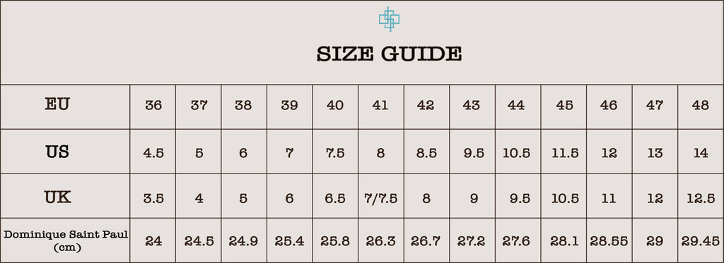 Shoe size guide of Dominique Saint Paul