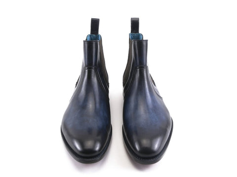 Gaucho II Chelsea boots in navy blue hand painted patina