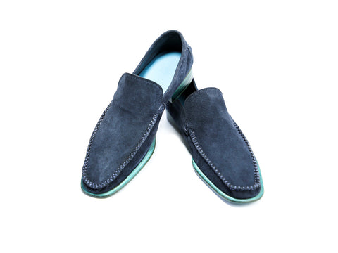 36 EE BOXER LOAFERS, BLUE SUEDE - READY TO WEAR