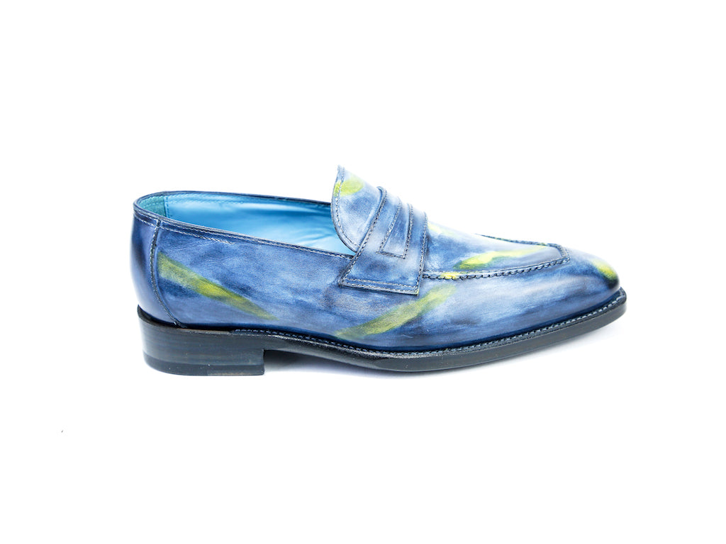 36 N ALEX LOAFERS, YELLOW BLUE PATINA - READY TO WEAR
