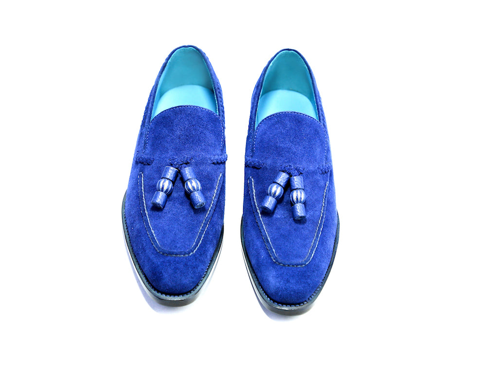 37 EE SAIGON TASSEL LOAFERS, BLUE SUEDE - READY TO WEAR
