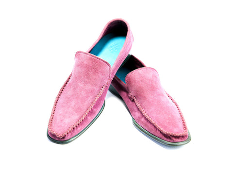 37 EE BOXER LOAFERS, PINK SUEDE - READY TO WEAR
