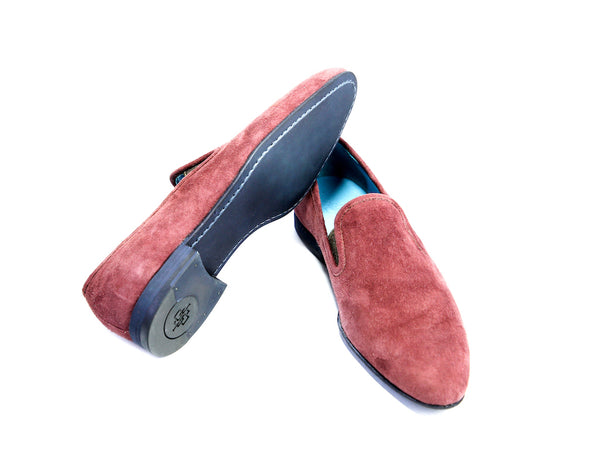 37 EE MARTIAL SLIPPER LOAFERS, RED SUEDE - READY TO WEAR