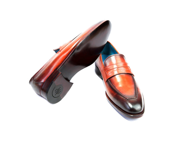 37 N ALEX LOAFERS, ORANGE & BLACK PATINA - READY TO WEAR