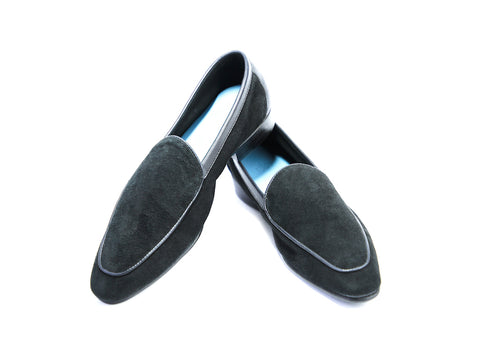 38 EE BERTRAND LOAFERS, BLACK SUEDE - READY TO WEAR