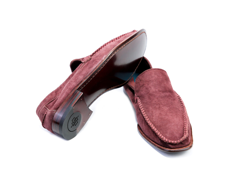38 EE BOXER LOAFERS, BURGUNDY SUEDE - READY TO WEAR