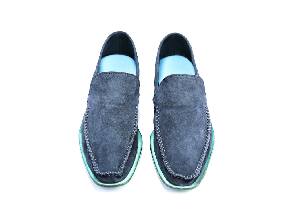 38 EE BOXER LOAFERS, NAVY BLUE SUEDE - READY TO WEAR