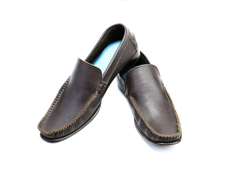 38 EE BOXER LOAFERS, BROWN PEBBLE GRAIN LEATHER - READY TO WEAR