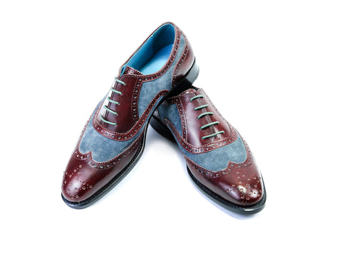 38 EE COUNTRYMAN SHOES, BURGUNDY PATINA & BLUE SUEDE - READY TO WEAR