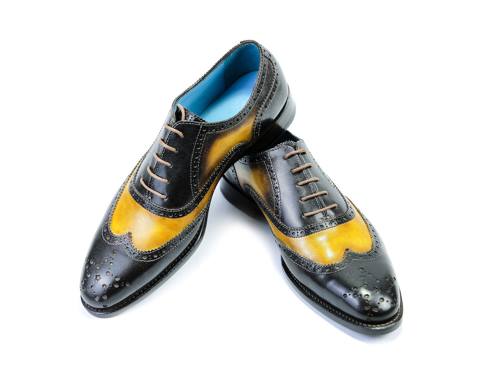 38 EE COUNTRYMAN SHOES, BLACK & YELLOW PATINA - READY TO WEAR