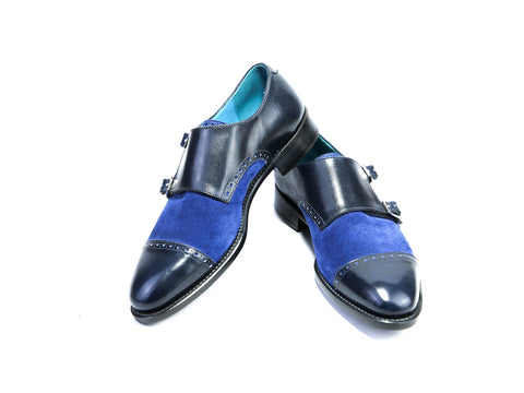 38 EE DIPLOMATE MONK SHOES, MIDNIGHT BLUE PATINA & BLUE SUEDE - READY TO WEAR