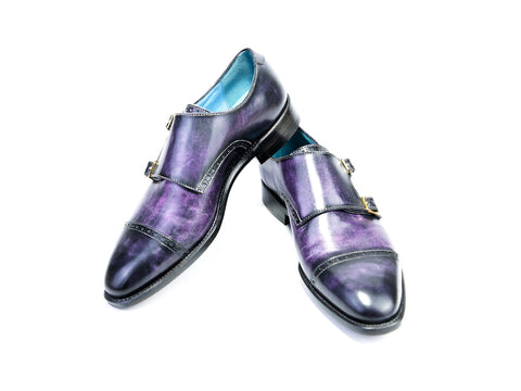 38 EE DIPLOMATE MONK SHOES, PURPLE PATINA - READY TO WEAR