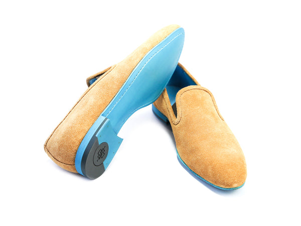 38 EE MARTIAL SLIPPER LOAFERS, TOBACCO SUEDE - READY TO WEAR