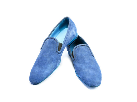 38 EE MARTIAL SLIPPER LOAFERS, BLUE SUEDE - READY TO WEAR
