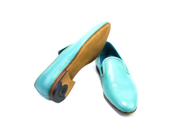 38 EE MARTIAL SLIPPER LOAFERS, TURQUOISE PATINA - READY TO WEAR