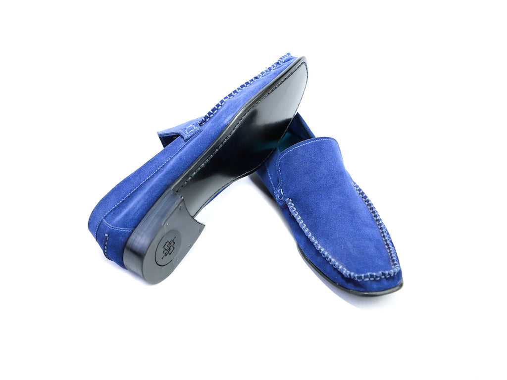 38 F BOXER LOAFERS, BLUE SUEDE - READY TO WEAR