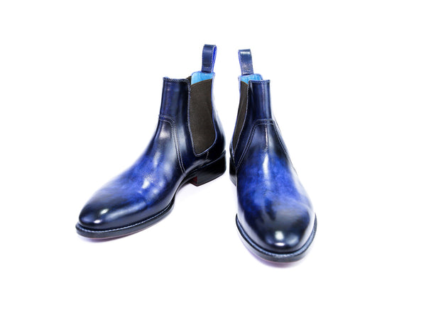 39 E GAUCHO BOOTS, COBALT & MIDNIGHT BLUE PATINA - READY TO WEAR