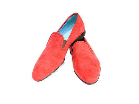 39 EE MARTIAL SLIPPER LOAFERS, RED SUEDE - READY TO WEAR