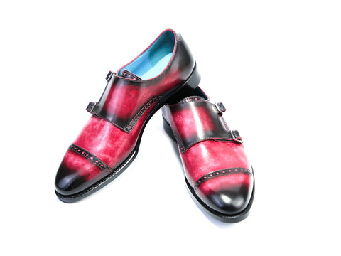 40 EE DIPLOMATE MONK SHOES, RED & BLACK PATINA - READY TO WEAR