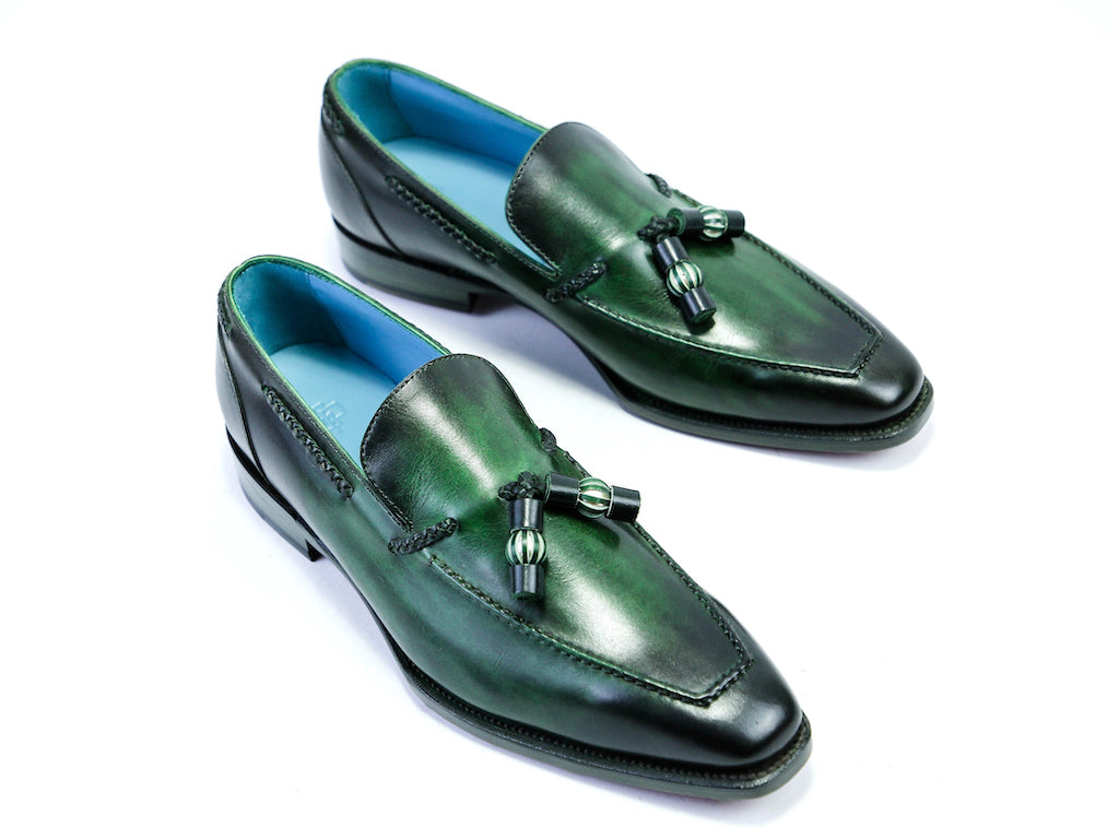 40 EE SAIGON TASSEL LOAFERS, GREEN PATINA - READY TO WEAR