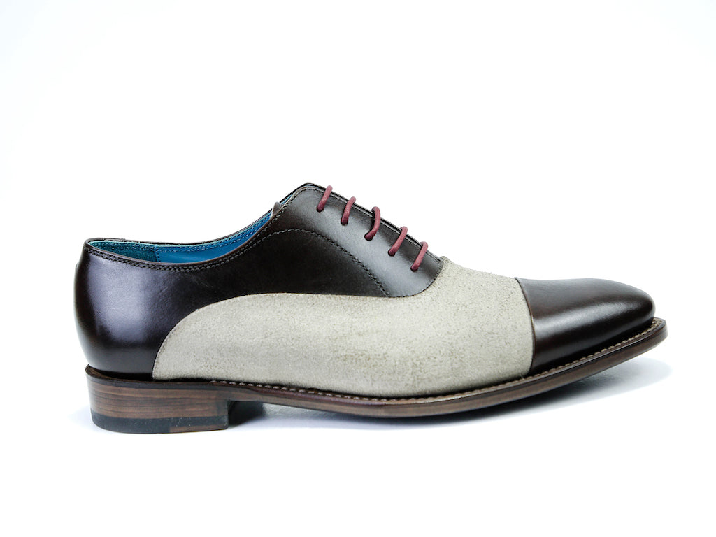 41 EE CLASSIC SHOES, BROWN PATINA & GREY SUEDE - READY TO WEAR