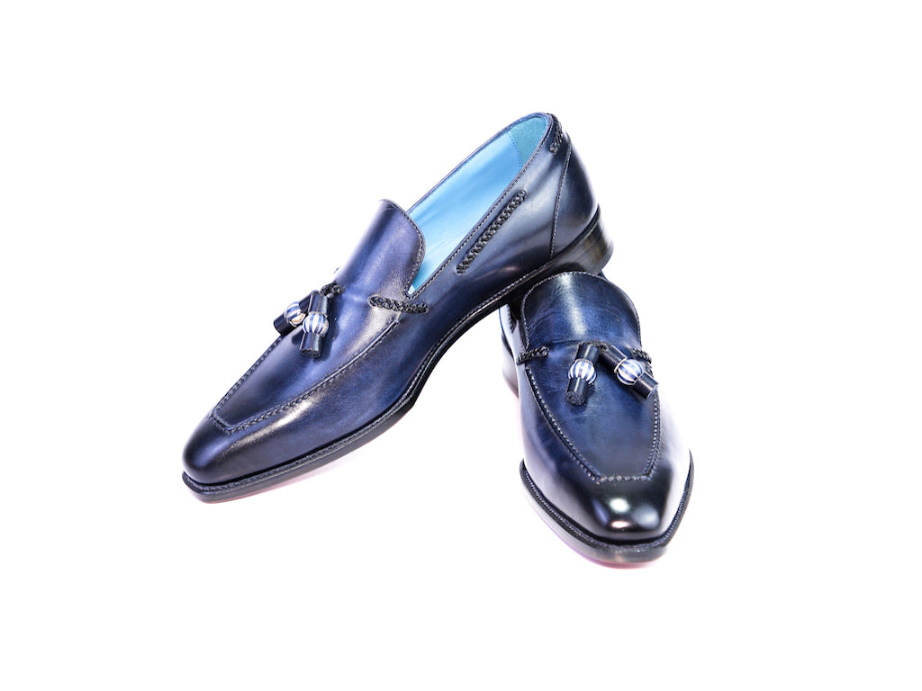 41 EE SAIGON TASSEL LOAFERS, MIDNIGHT BLUE PATINA - READY TO WEAR